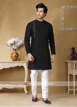 Round Neck Black Kurta Set
