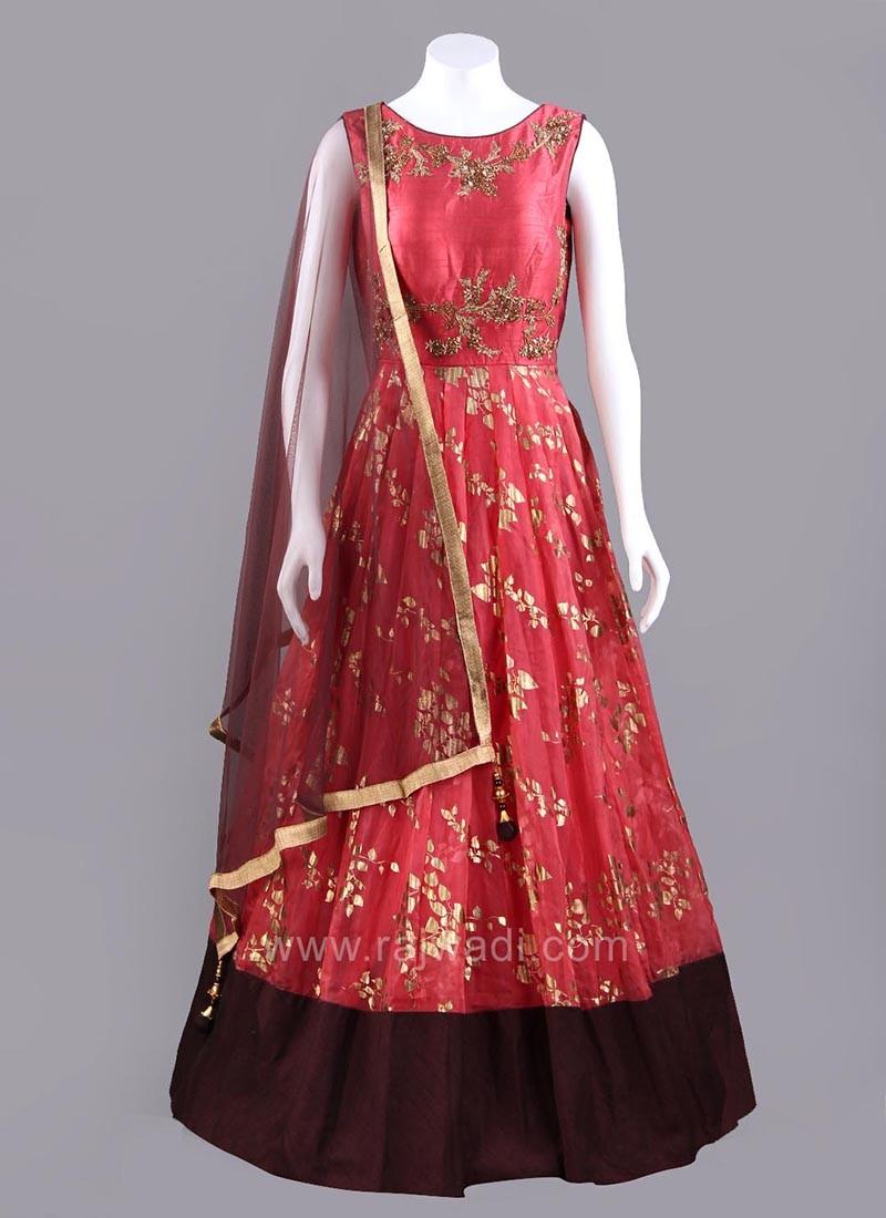 Round Neck Flared Anarkali Dress in Crimson