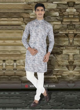 Round Neck Grey Kurta Set
