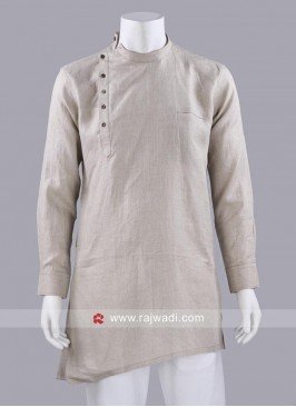 Round Neck Kurta In Beige Color