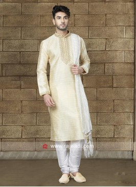 Cream Kurta Pajama For Party
