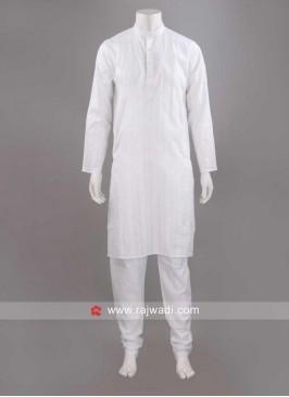 Round Neck Kurta Pajama In White