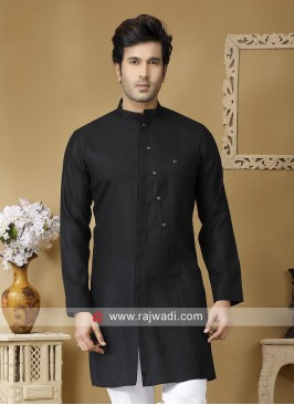 Black Linen Fabric Kurta For Mens