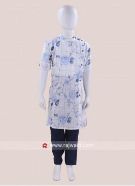 Round Neck Linen Fabric Pathani Suit