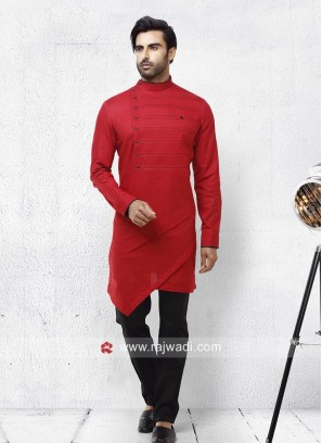 Round Neck Linen Pathani Suit
