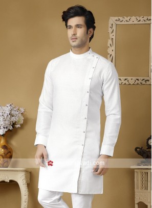 Round Neck White Kurta
