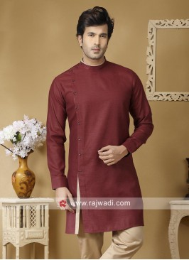 Round Neck Maroon Color Kurta