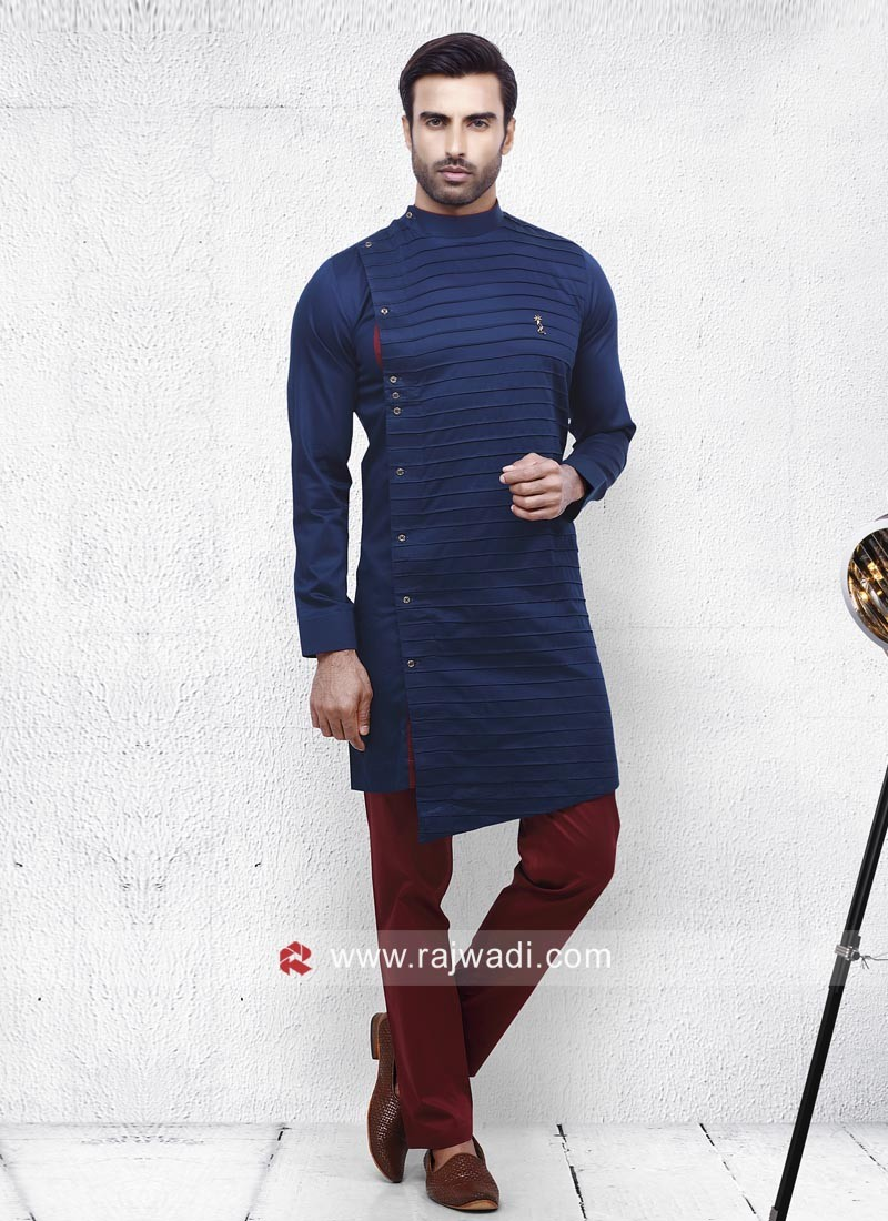 Round Neck Pathani In Blue