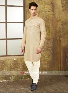 Round Neck Pathani In Cream