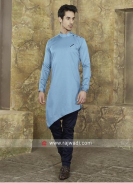 Round Neck Pathani Suit With Fancy Buttons