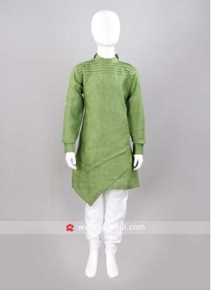 Round Neck Pista Green Color Pathani Set