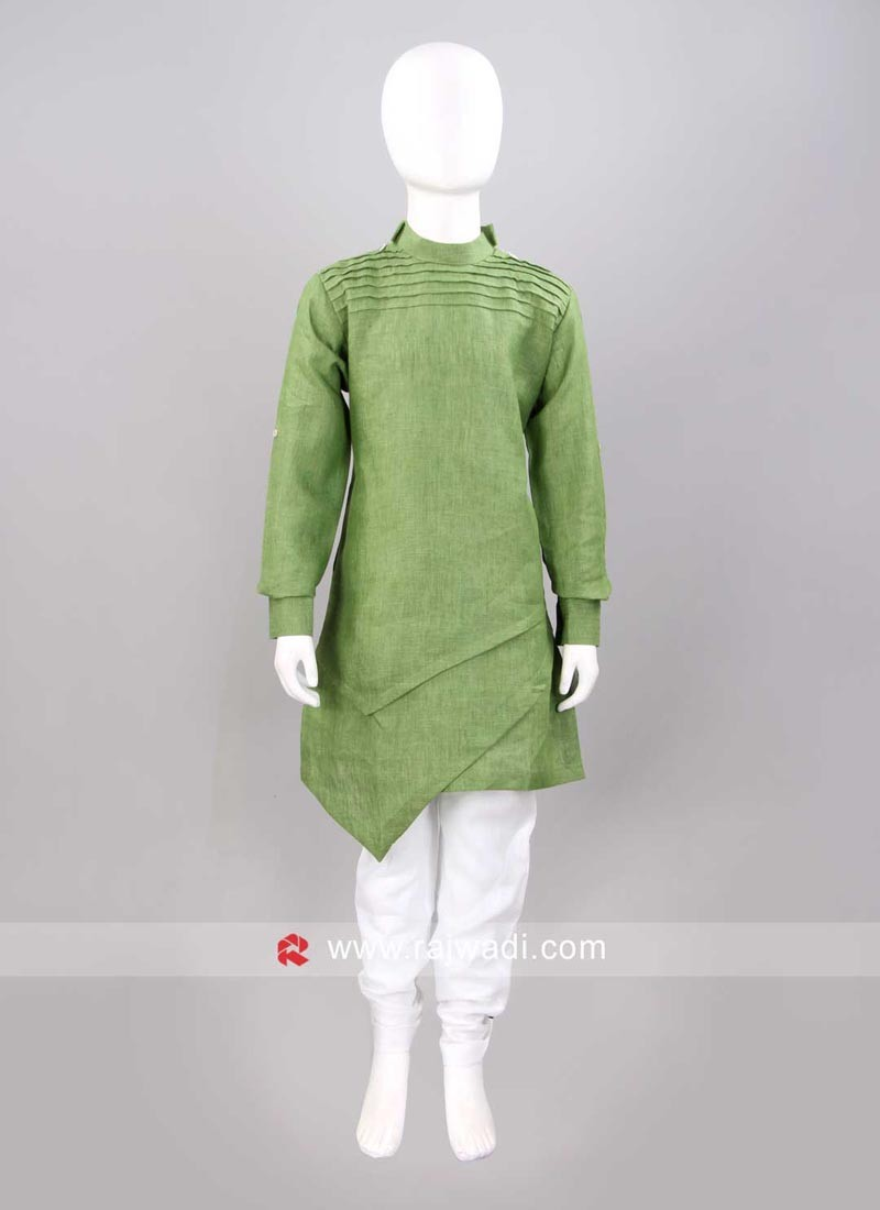 Round Neck Pista Green Color Pathani Set