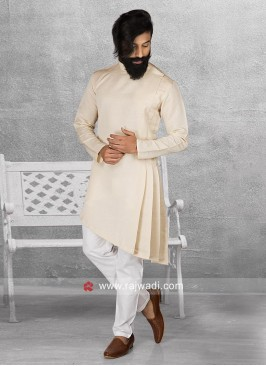Round Neck Beige Color Pathani Suit