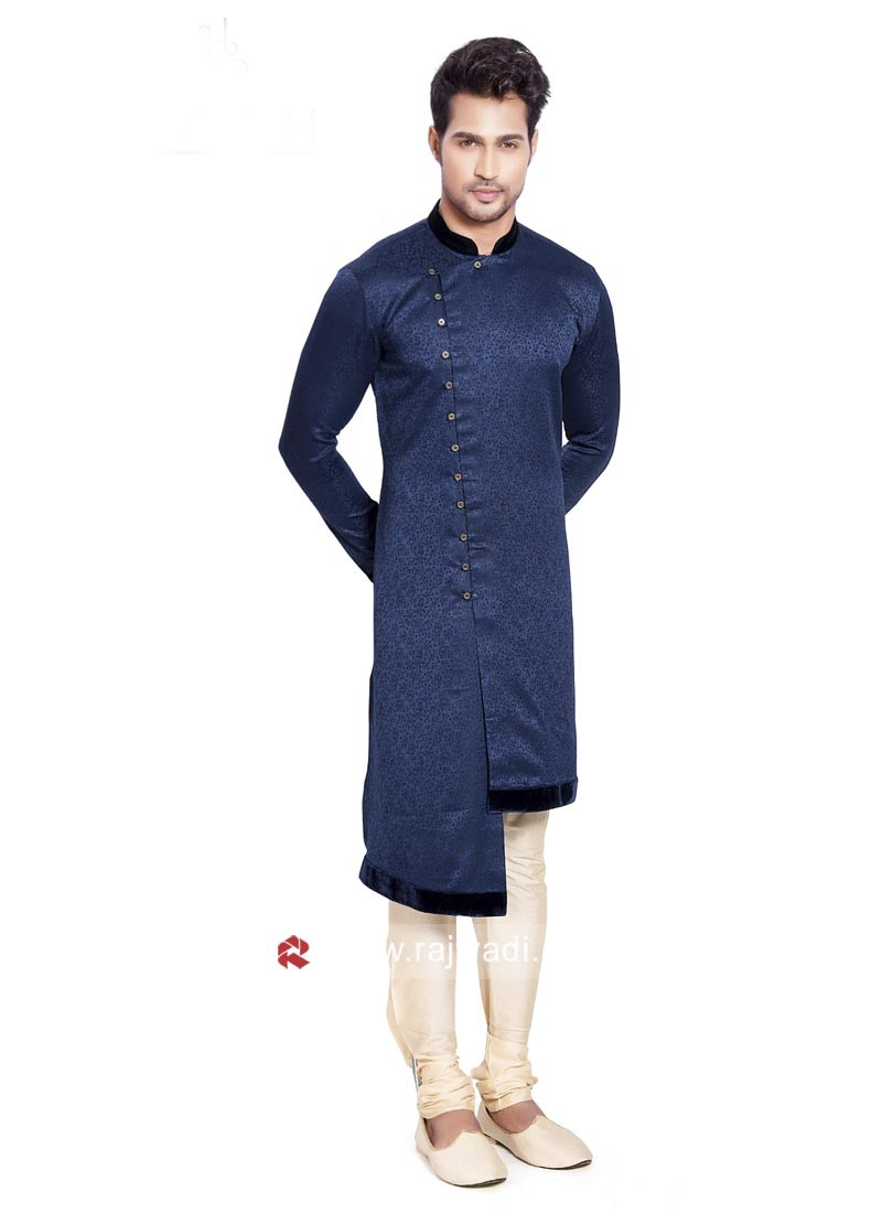 Stand Neck Blue Color Pathani Suit