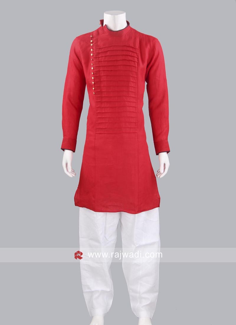 Round Neck Red Color Pathani Suit