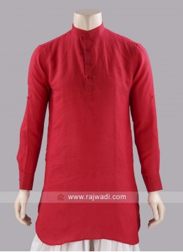 Round Neck Red Kurta