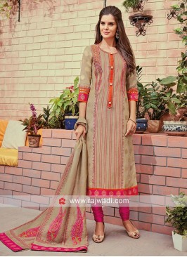 Round Neck Straight Churidar Set with Dupatta