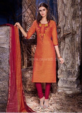 Round Neck Straight Cotton Churidar Suit