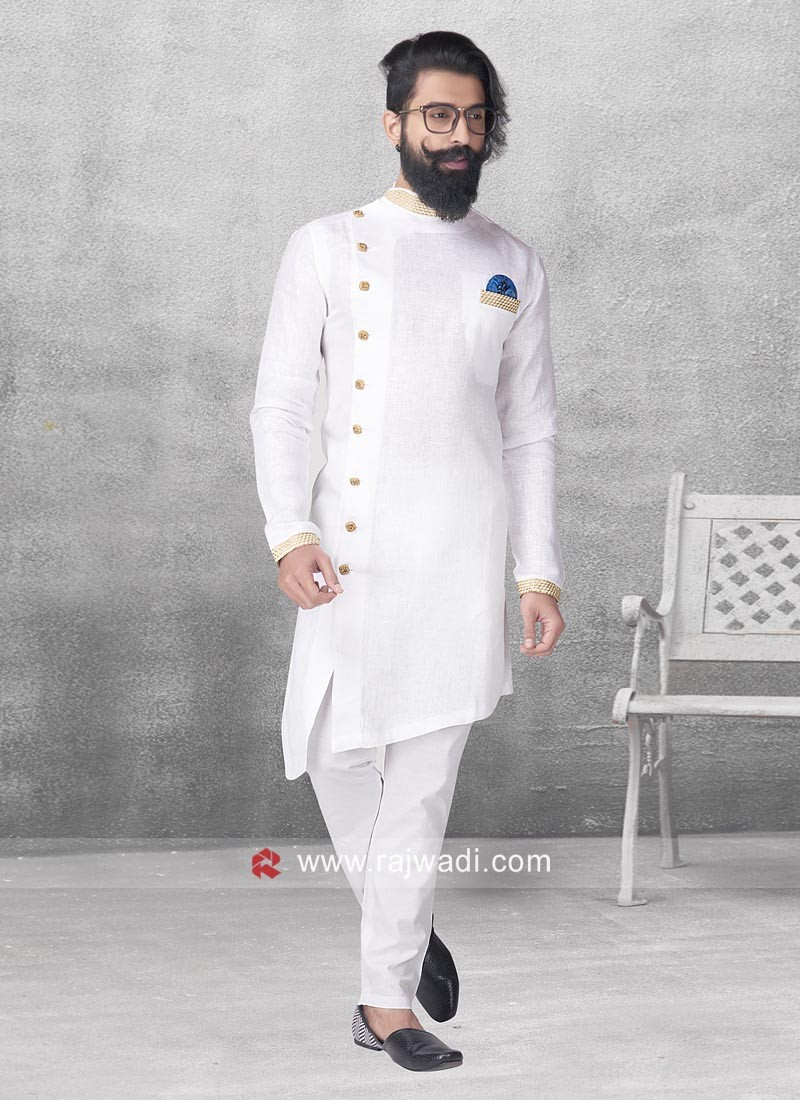 Round Neck White Color Pathani For Party