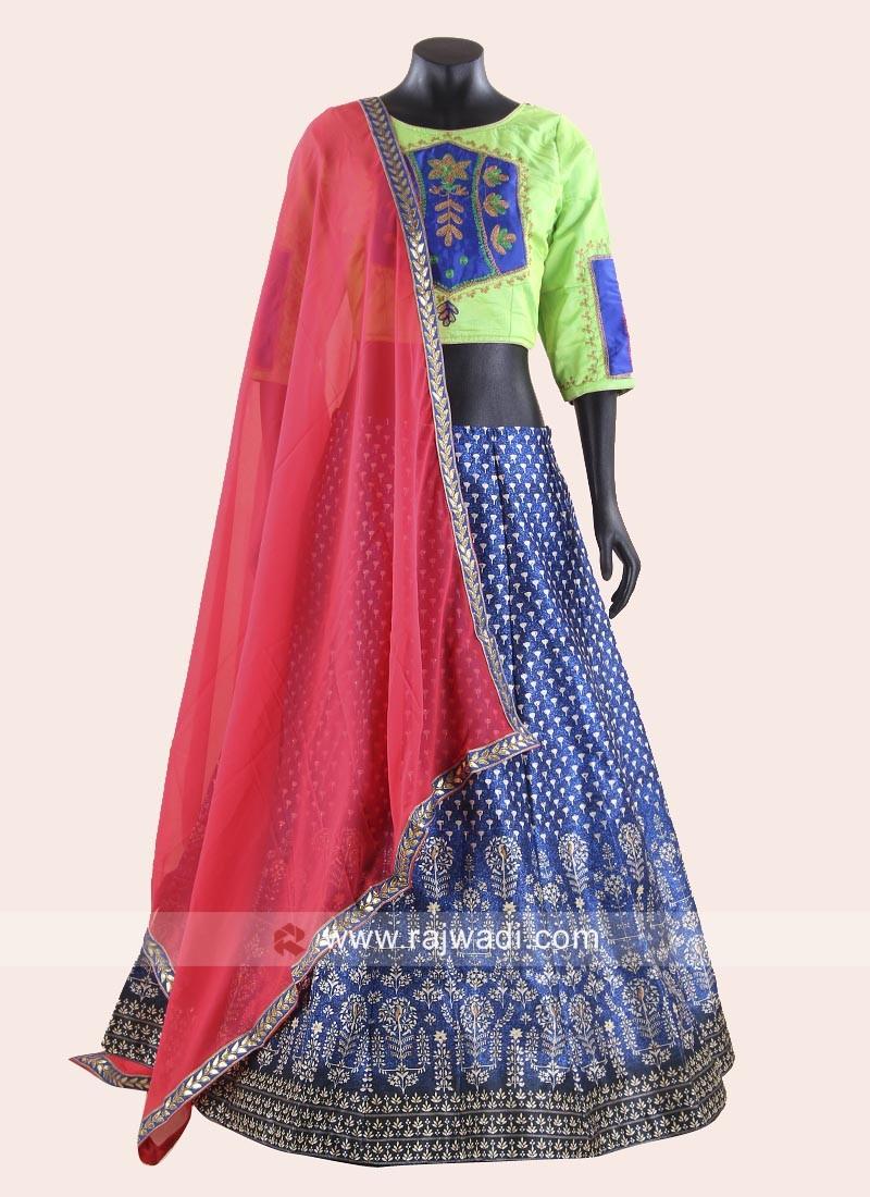 Royal Blue and Parrot Green Colour Garba Chaniya Choli
