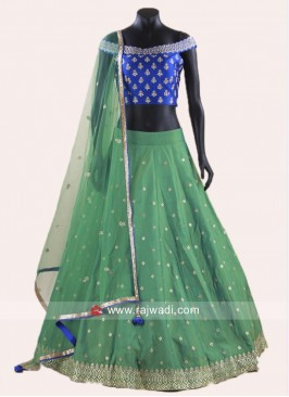 Royal Blue and Sea Green Stitched Lehenga