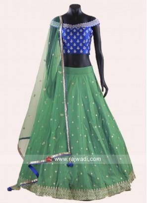 Royal Blue and Sea Green Stitched Lehenga