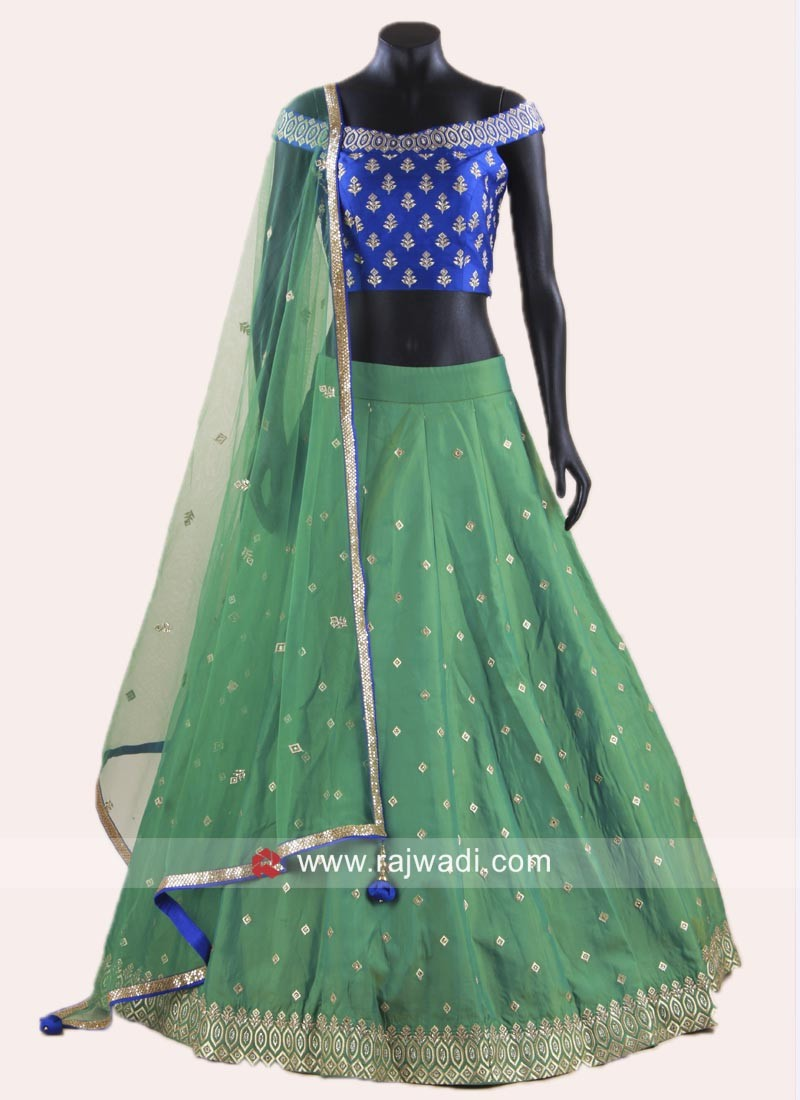 8a22a8b696 Royal Blue and Sea Green Stitched Lehenga. Hover to zoom