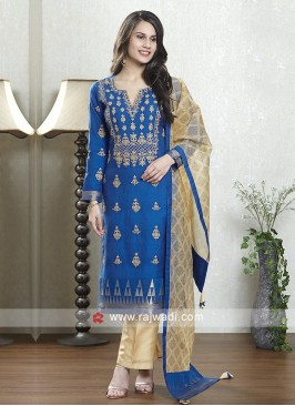 Royal blue and skin color salwar suit