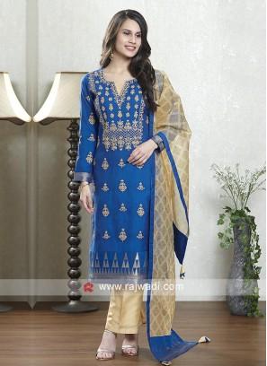 Royal blue and skin color salwar suit