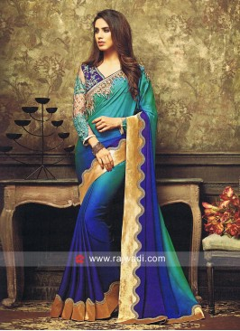 Royal Blue and Teal Shaded Sari