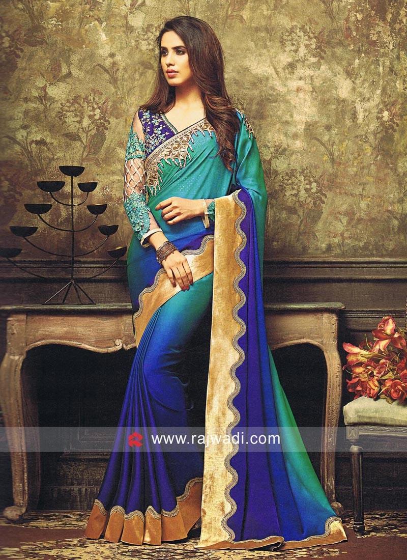 Royal Blue and Teal Shaded Sari