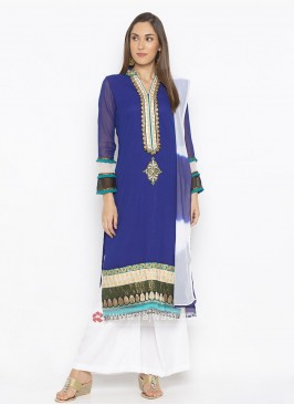 Royal Blue And White Palazzo Suit