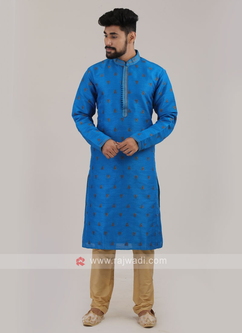 Deep Sky Blue Art silk Kurta Pajama