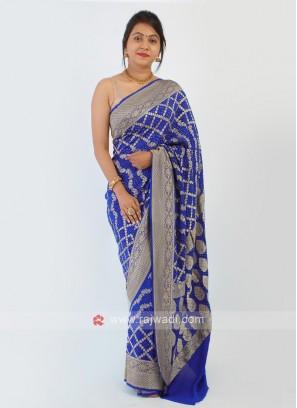 Royal Blue Chiffon Bandhani Saree