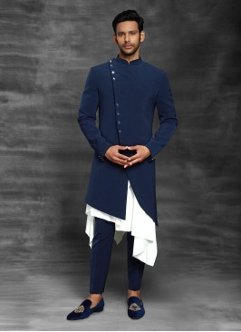Royal Blue Color Indowestern For Men