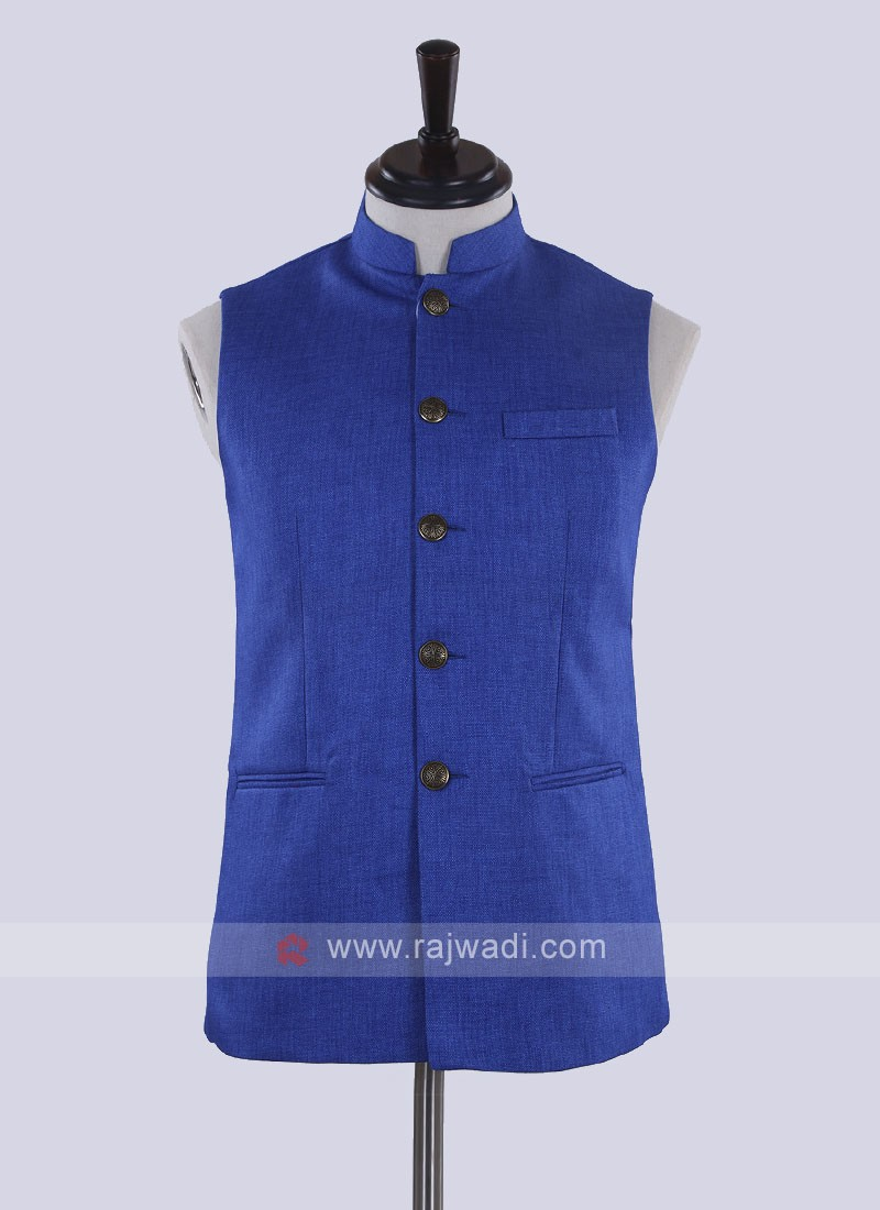 Royal blue color nehru jacket