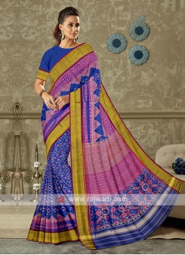royal blue color pure silk saree