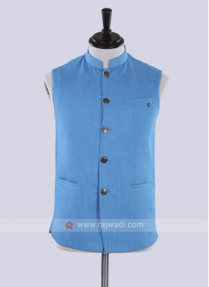 Royal blue color solid nehru jacket