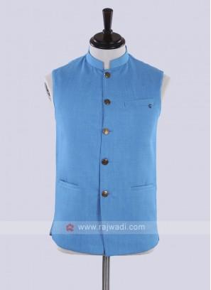 Royal blue color solid nehru jacket