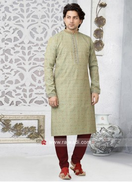 Liril Green Brocade silk Fabric Kurta pajama