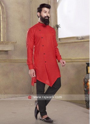 Stylish Red Pathani Suit