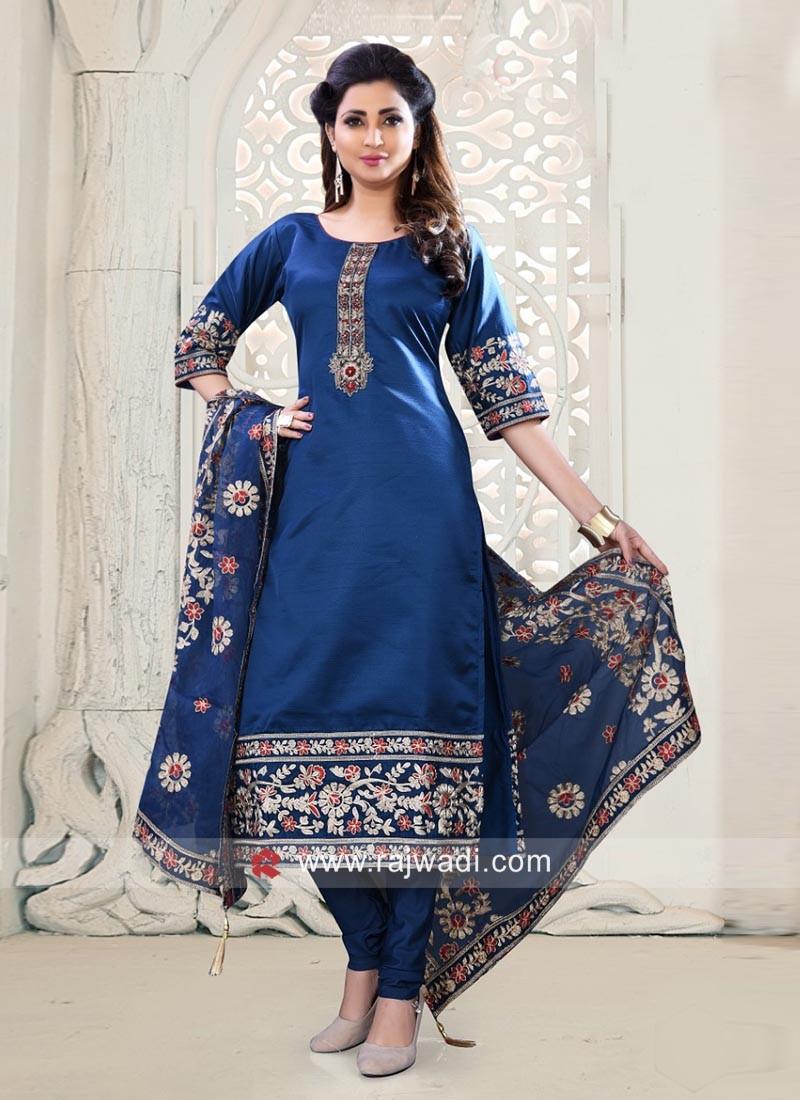 Royal Blue Floral Embroidered Salwar Kameez
