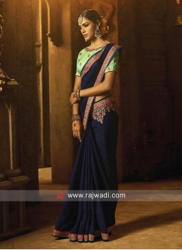 Royal Blue Flower Work Saree