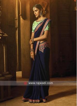 Royal Blue Flower Work Saree