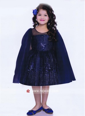 Royal Blue Girls Frock with Long Slit Sleeves