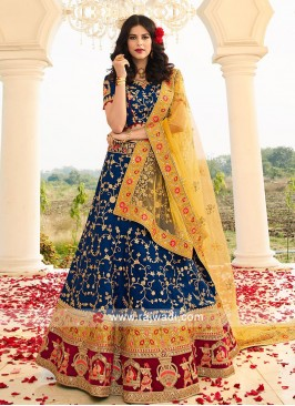 Royal Blue Heavy Embroidered Lehenga Set