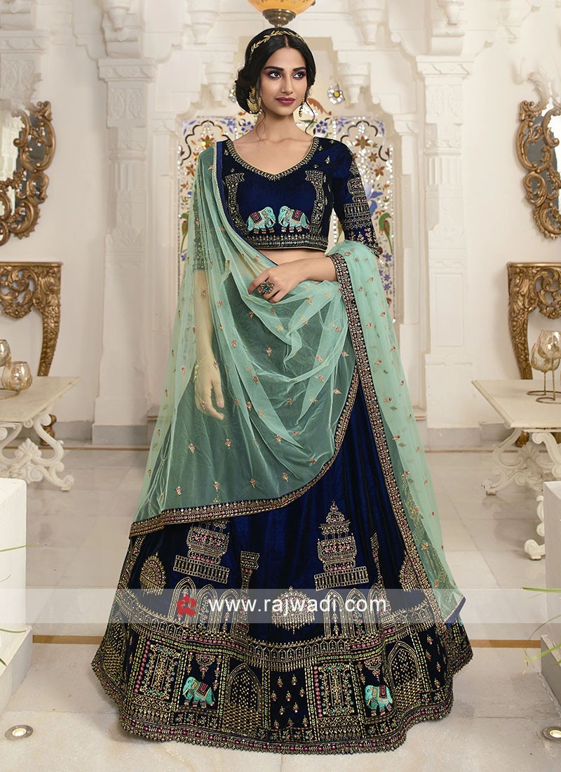 Royal blue lehenga choli with dupatta
