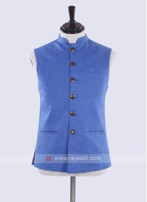 royal blue solid nehru jacket
