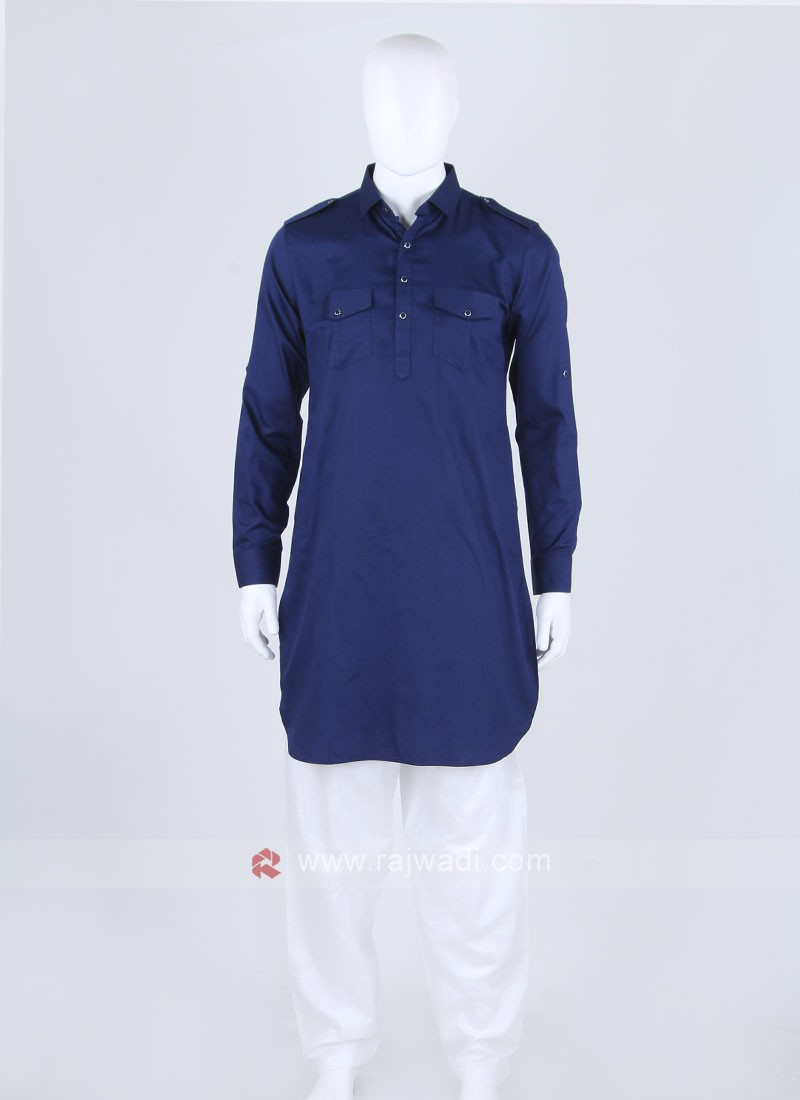 Royal Blue Solid Pathani Suit`