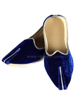 Royal Blue Velvet Mojari